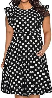 Nemidor Women's Casual Ruffle Sleeve Swing Party Dress Vintage Plus Size Fit and Flare Midi Dress NEM213