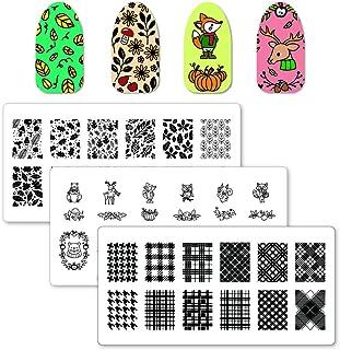 WINSTONIA 3pcs Fall Nail Stamping Plates Image Set Bundle | Fall Collection - Golden Season, Woodland Magic, Plaid About You