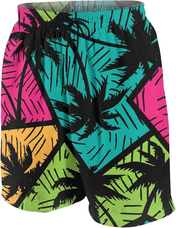 Geometric Coconut Tree Teen Boys Quick Dry Surf Swim Trunk Novelty Youth Summer Beach Board Shorts