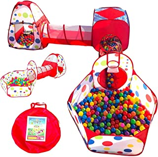 Playz 5-Piece Kids Play Tents Crawl Tunnels and Ball Pit Popup Bounce Playhouse Tent with Basketball Hoop for Indoor and O...