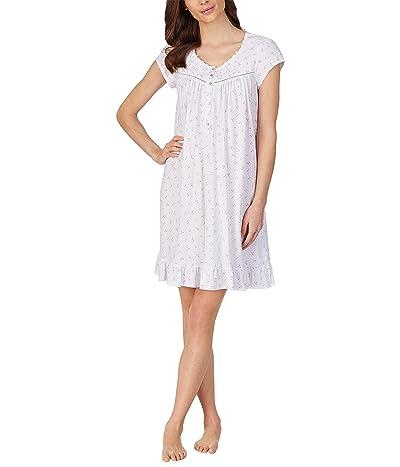 Eileen West Cap Sleeve Short Nightgown (Pink Geo) Women