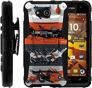 TurtleArmor | Compatible with Kyocera Hydro Wave Case | Hydro Air Case [Hyper Shock] Rugged Hybrid Hard Shell Kickstand Fitted Silicone Holster Belt Clip War and Military - Heavy Artillery