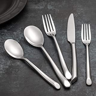 Kelenfer Silverware Stainless Steel Flatware set 20 Piece Cutlery with Wave Handle Home Hotel Restaurant Use Service for 4