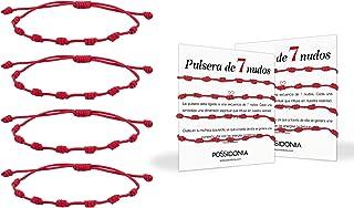 Possidonia Pulsera Roja 7 Nudos | Amuleto Hilo Rojo | Pulsera de la Suerte y Protección | Unisex, Ajustable| Buena Suerte...