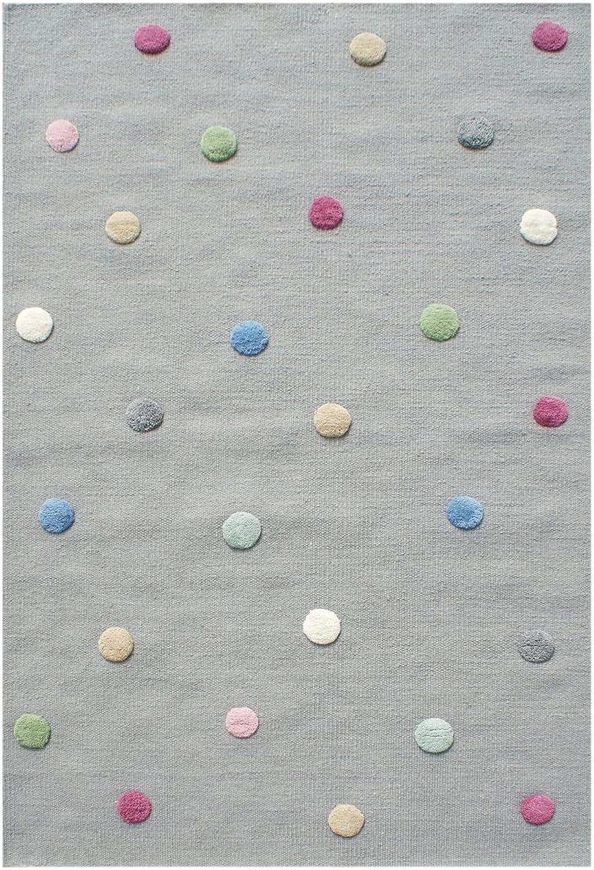 Livone Hochwertiger Jugendteppich aus natürlicher Wolle Kinderzimmer Kinderteppich in grau mit Punkten in rot blau grün Mint grau Rosa Größe 100 x 160 cm B079VHCR63