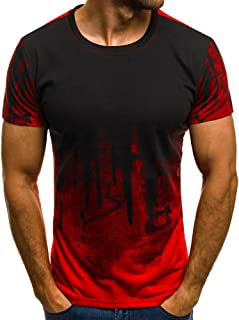 Realdo Mens Gradient T-Shirt, Color Long Sleeve Crewneck Muscle Long Sleeve Blouse Tee Shirt Top Sweatshirt