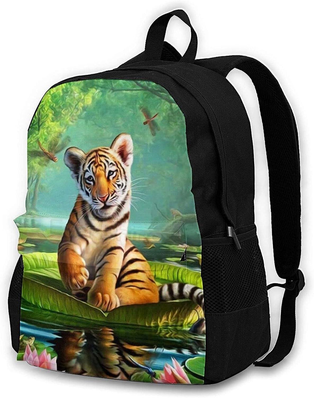 Tiger Direct stock discount Lotus Ranking TOP15 Backpack Casual College Prints Zipper 3d Bookbag Bag