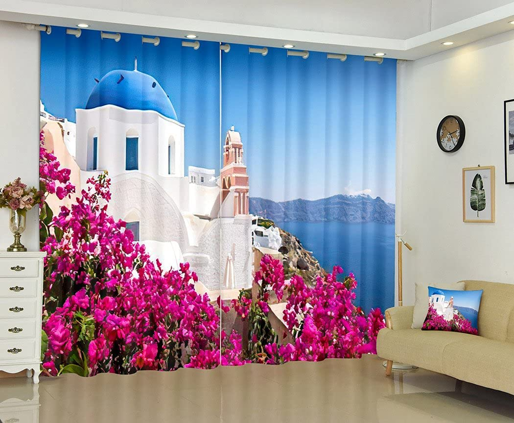 greek Landscape San Diego Mall flower Max 50% OFF Blackout Curtains Bedroom Scenic for View