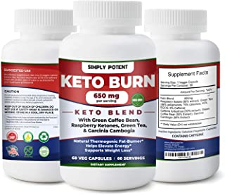 Keto Diet Pills, Weight Loss Keto Pills w/Raspberry Ketone, Garcinia Combogia, Green Tea & Coffee Supplement to Burn Fat & Lose Wt, Enhance Energy & Focus, Buy Risk Free 30 Day Full Refund Guaranteed
