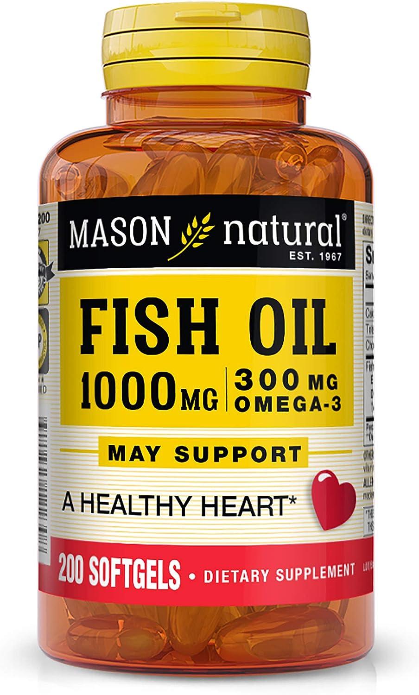 Mason Natural Fish Virginia Beach Mall Oil 1 000 Hea New sales Omega-3 with Healthy mg 300