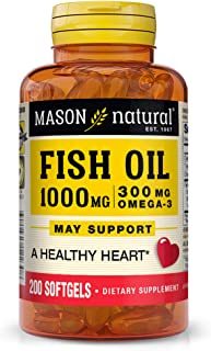 Mason Natural, Omega 3 Fish Oil 1000mg Softgels, Bonus Size 200-Count Bottle, Dietary Supplement Supports Heart, Eye, Brai...
