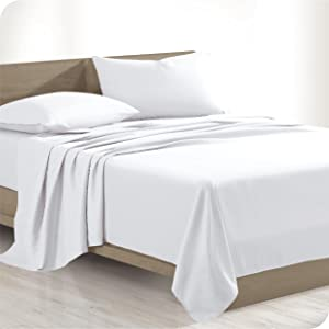 Bare Home 100% Organic Cotton Queen Sheet Set - Crisp Percale Weave - Lightweight & Breathable - Bedding Sheets & Pillowcases (Queen, White)