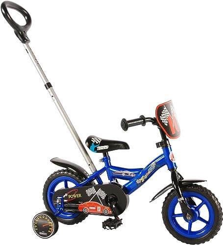 Kinderfürrad 10 Zoll Formula 1 mit H nverstellbaren Schubstange Vorne und Hinten füren Blau Schwarz85% zusammengebaut