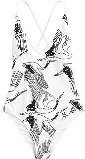 Women Sexy Push up Bikini One Piece Lace up Back Monokini Swimsuit