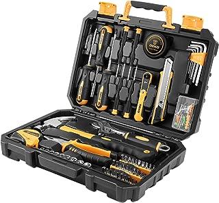 DESOON 100 Piece Household Hand Tools,Home Repair Tool Set with Plastic Tool Box Storage