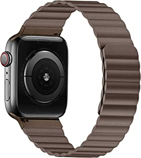 VeryBet Unique Designed Leather Band Compatible for Apple Watch Series 5 44mm 42mm 40mm 38mm, Adjustable Loop Strap with Strong Magnetic Closure for iWatch Series 4-3-2-1
