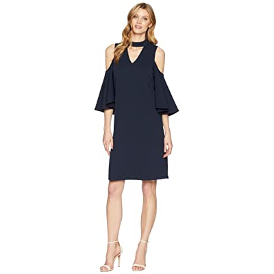 NIC+ZOE Textured Flutter Sleeve Dress (Midnight) Women