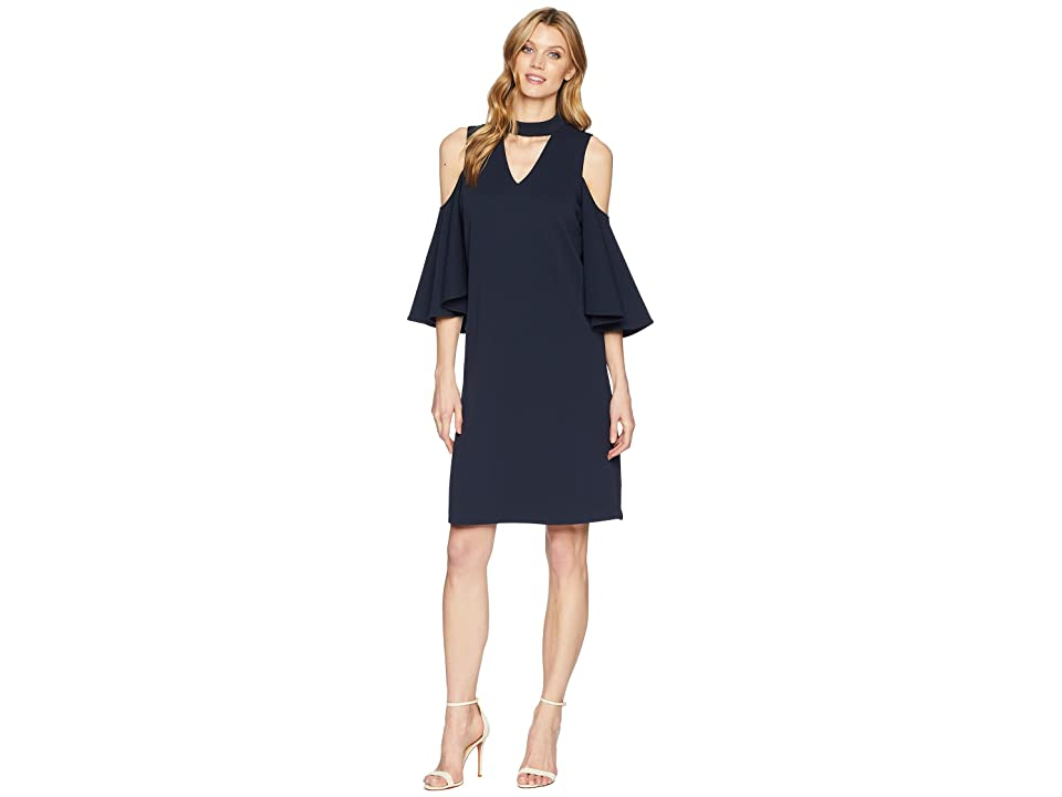 NIC+ZOE Textured Flutter Sleeve Dress (Midnight) Women