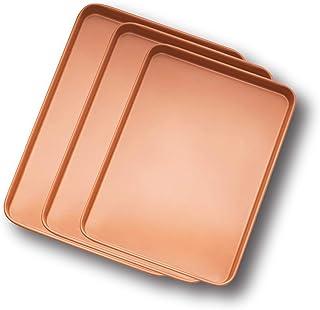 Gotham Steel Baker's Cookie Sheet and Baking Pan Set – Heavy Duty Aluminum 0.8MM Gauge, Nonstick Copper Surface, Dishwasher Safe - 3 PACK