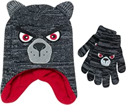 ABG Accessories Boys Wolf Critter Winter Hat and Gloves (Little Boys)