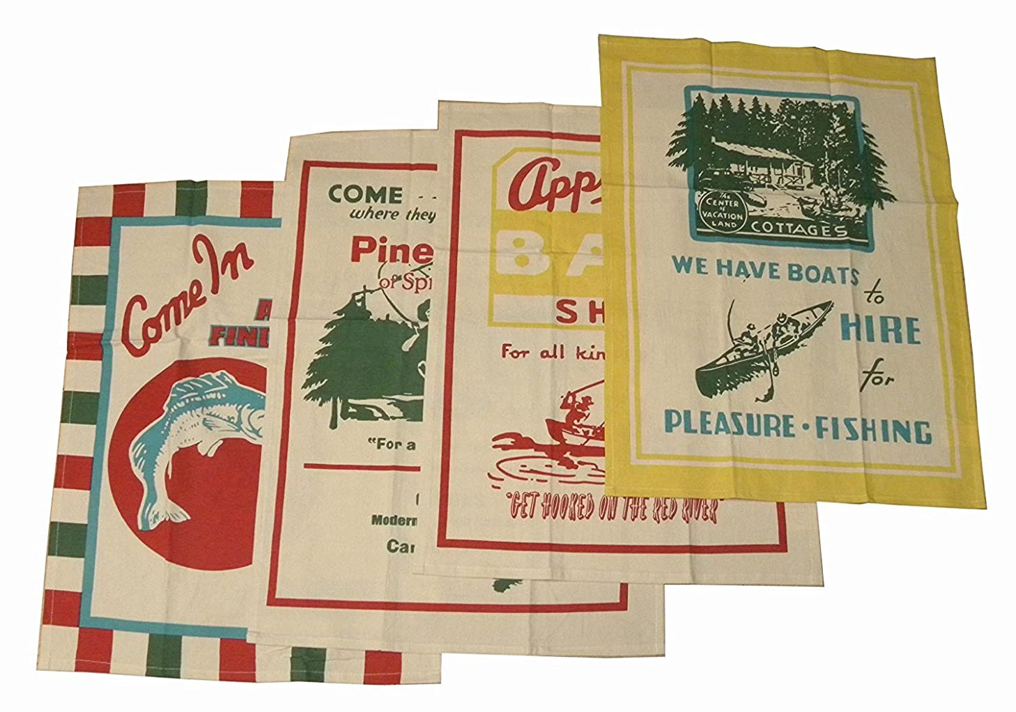 Bait and Tackle Dish Towels by Moda Home, Set of 4