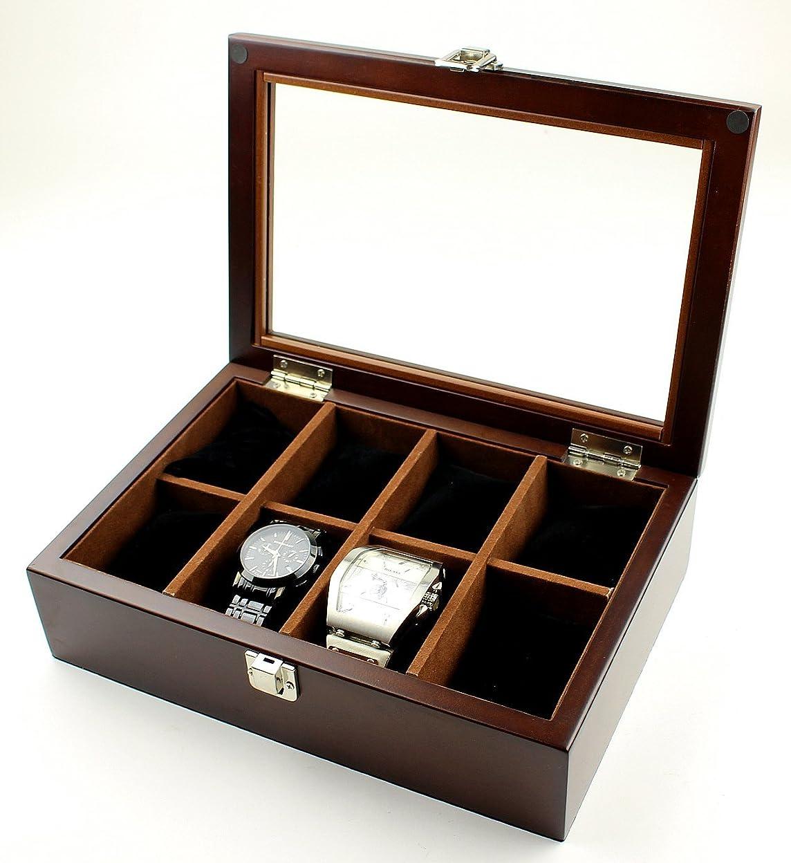 オーラルアシュリータファーマンブロッサム高級 木製 腕時計 収納 ボックス 8本用 コレクション ウォッチ ケース ディスプレイ A332 (ブラウン)