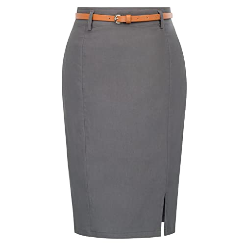 d95794601 Kate Kasin Women's Bodycon Pencil Skirt with Blet Solid Color Hip-Wrapped