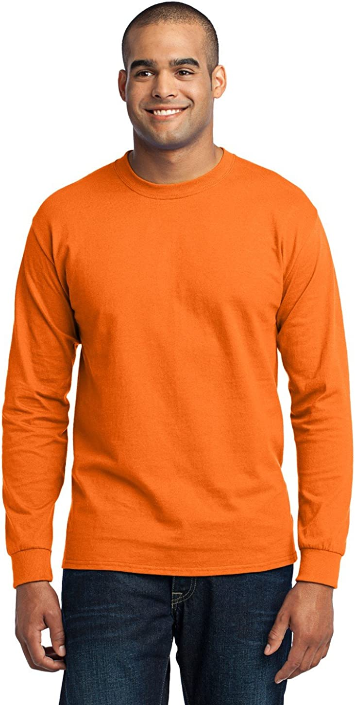 Port & Company Men's Tall Long Sleeve 50/50 Cotton/Poly T XLT Safety Orange