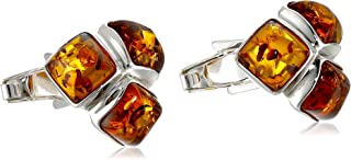 Men's Sterling Silver Honey Amber Mosaic Designer Cuff Links