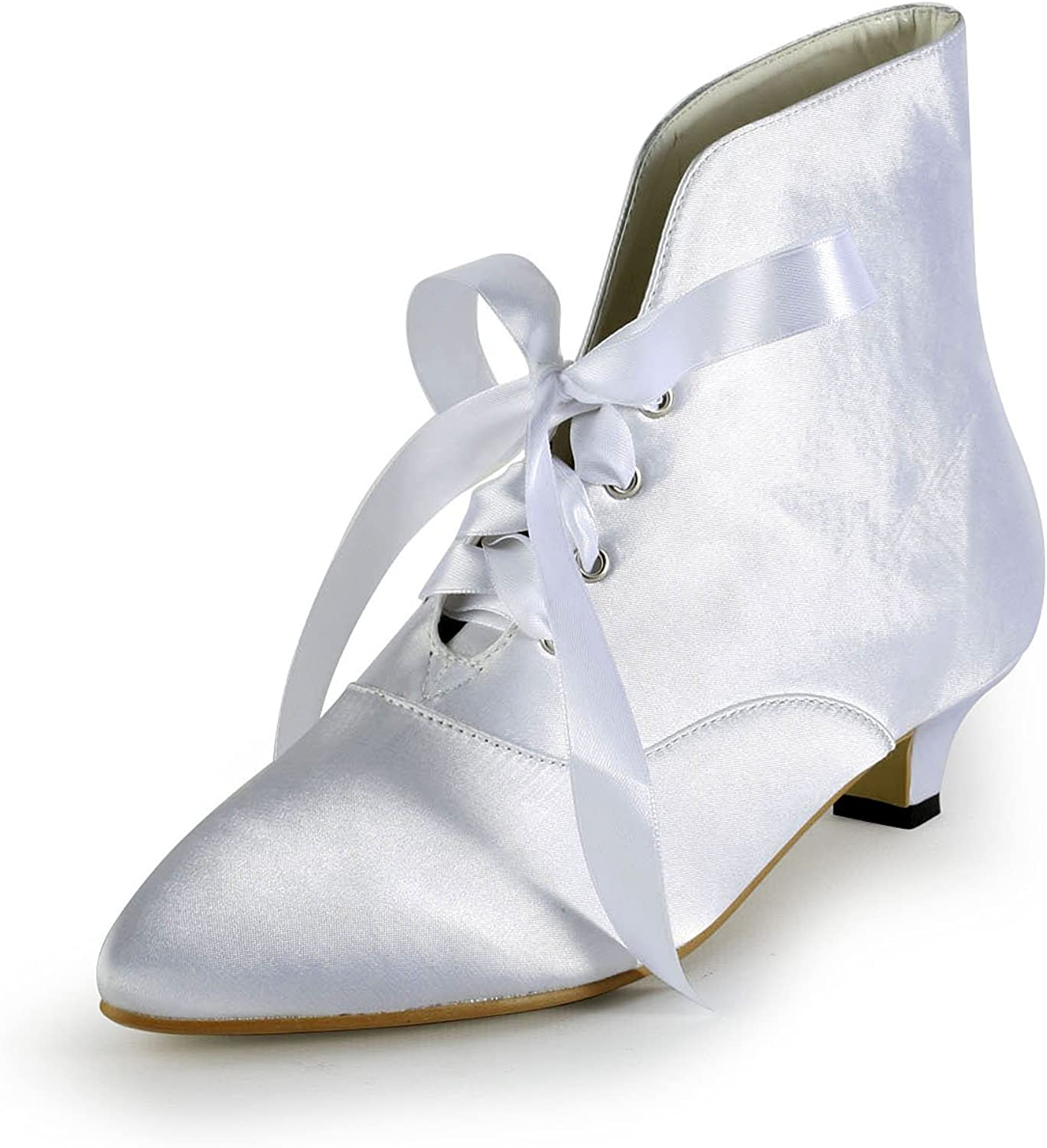 TDA TH12124 Womens Kitten Heel Satin Lace-up Evening Parting Bridal Wedding Dress Ankle Boots
