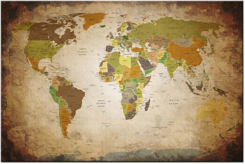 Dsign24 Weltkarte edel als Leinwandbild Leinwandbild Leinwandbild Wandbild 120 x 80 cm – Wanddeko, Kunstdruck, Keilrahmen Globus World ANTIK A05040 B01835TTDC dfabb5