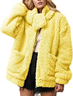 Macondoo Womens Long Sleeve Sherpa Fuzzy Oversized Full Zip Coat Outwear