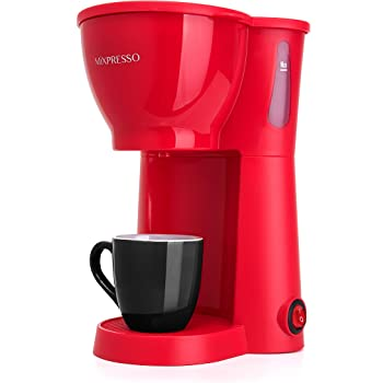 Mixpresso Mini Compact Drip coffee Maker With Brewing Basket, Red Small Coffee Pot (10.5oz)