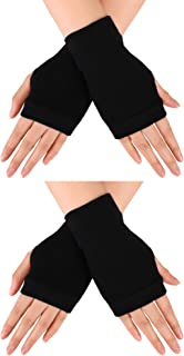 Blulu 2 Pairs Fingerless Warm Gloves with Thumb Hole Cozy Half Fingerless Driving Gloves Knit Mittens for Men, Women