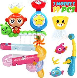 ENJOYBOT Bath Toys Slide Splash - Water Ball Track Stick to Wall DIY Waterfall Pipe and Tubes Tub Toys with Suction, for Kids Boys Girls Age 3 4 5 6 7 Years Old,Toys for Toddlers。