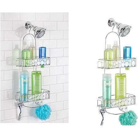 InterDesign Bubbli Estantería Colgante para Ducha, repisa de baño sin Taladro de Metal y plástico, Estante para Colgar de la Ducha, Plateado