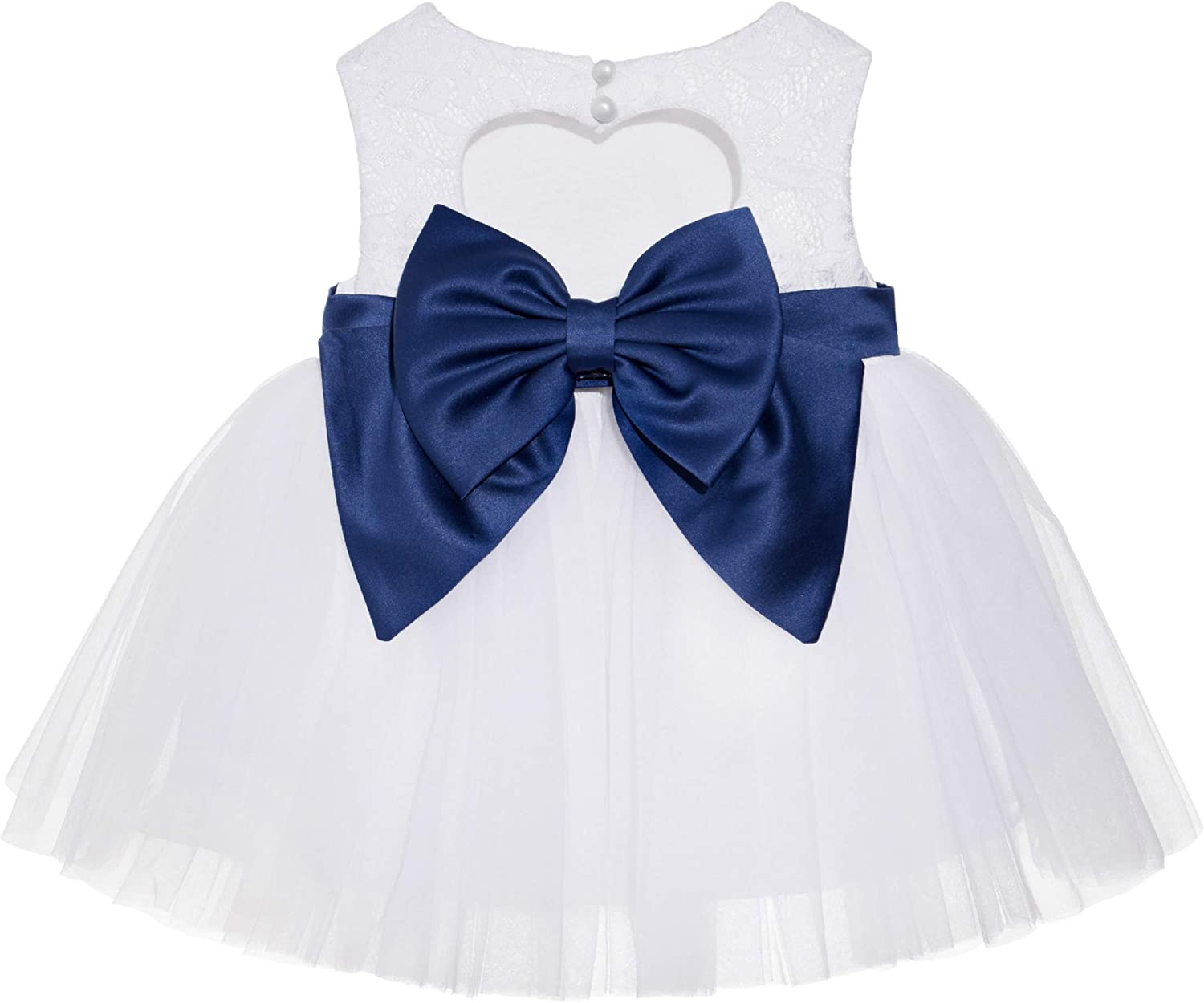 White Lace Heart Cutout Flower Girl Dress Special Occasions Pageant Gown BB1