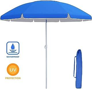 VEIKOU Fiberglass Beach Umbrella, Folded Patio Beach Umbrella, Sun Shade with Tilt Mechanism, Carry Bag - for Beach, Gardens, Balcony and Patio Blue