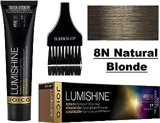 Joico LUMISHINE Repair+ PERMANENT Creme Hair Color (with Sleek Applicator Brush) Cream Haircolor (8N Natural Blonde)