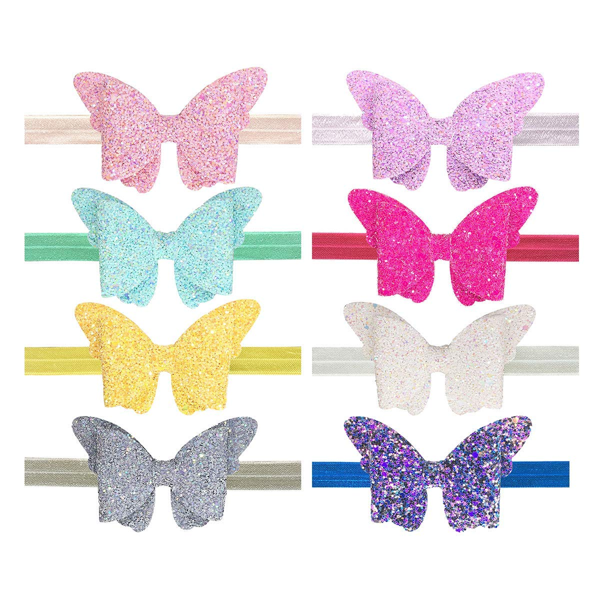 Baby Girls Headbands Toddler Glitter Bows Headband Elastic Hair bands with Glitter Butterfly Bows 8pcs by Yazon …