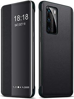 EUDTH Huawei P40 Pro Hülle, Flip Cover Smart View Window Case Schutzhülle PU Leder Handyhüllen für Huawei P40 Pro 6.58'  Schwarz