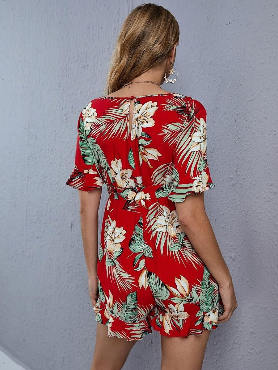 Shreem85 Raleigh Mall Maternity price Dress Tropical Print Ruffle Trim Be
