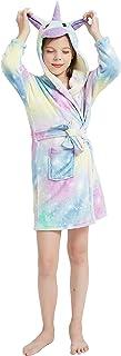 IRELIA Girls Unicorn Robe Soft Hooded Home Bathrobe Sleepwear for Kids
