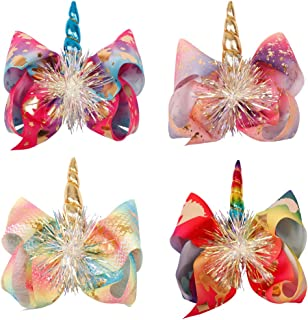4PCS Large Big Tinsel Foil Hair Bows Rainbow Bow Alligator Hair Clips Unicorn Hair Bows For Baby Girls Toddlers Kids Teens