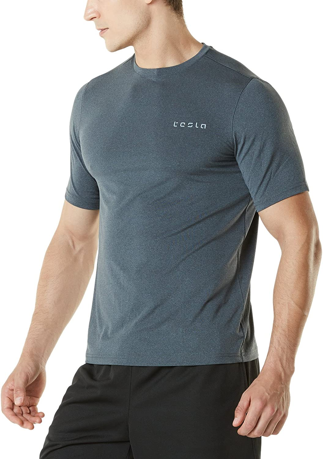 TSLA TMMTS08CHC_Small Men's HyperDri Short Sleeve TShirt Athletic Cool Running Top MTS08