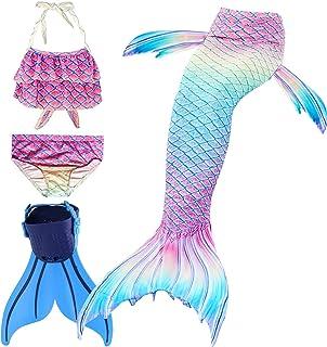comprar comparacion Disfraz de Sirena con Cola, Bikini y Aleta para niña (Conjunto de 4 Piezas)