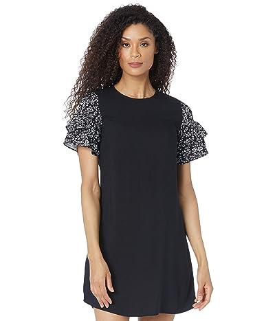 CeCe Tiered Ruffle Sleeve Dress w/ Printed Sleeve