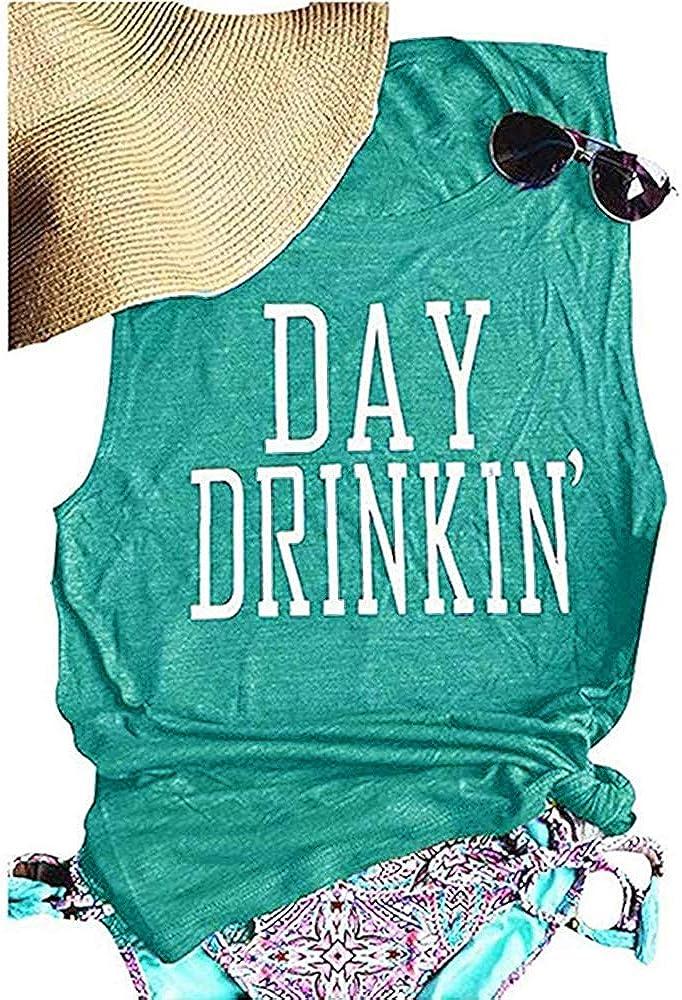 Bealatt Day Drinkin' Casual Tank Tops Funny Letters Print Vest T-Shirt, Cute Drinking Shirt Tank for Women