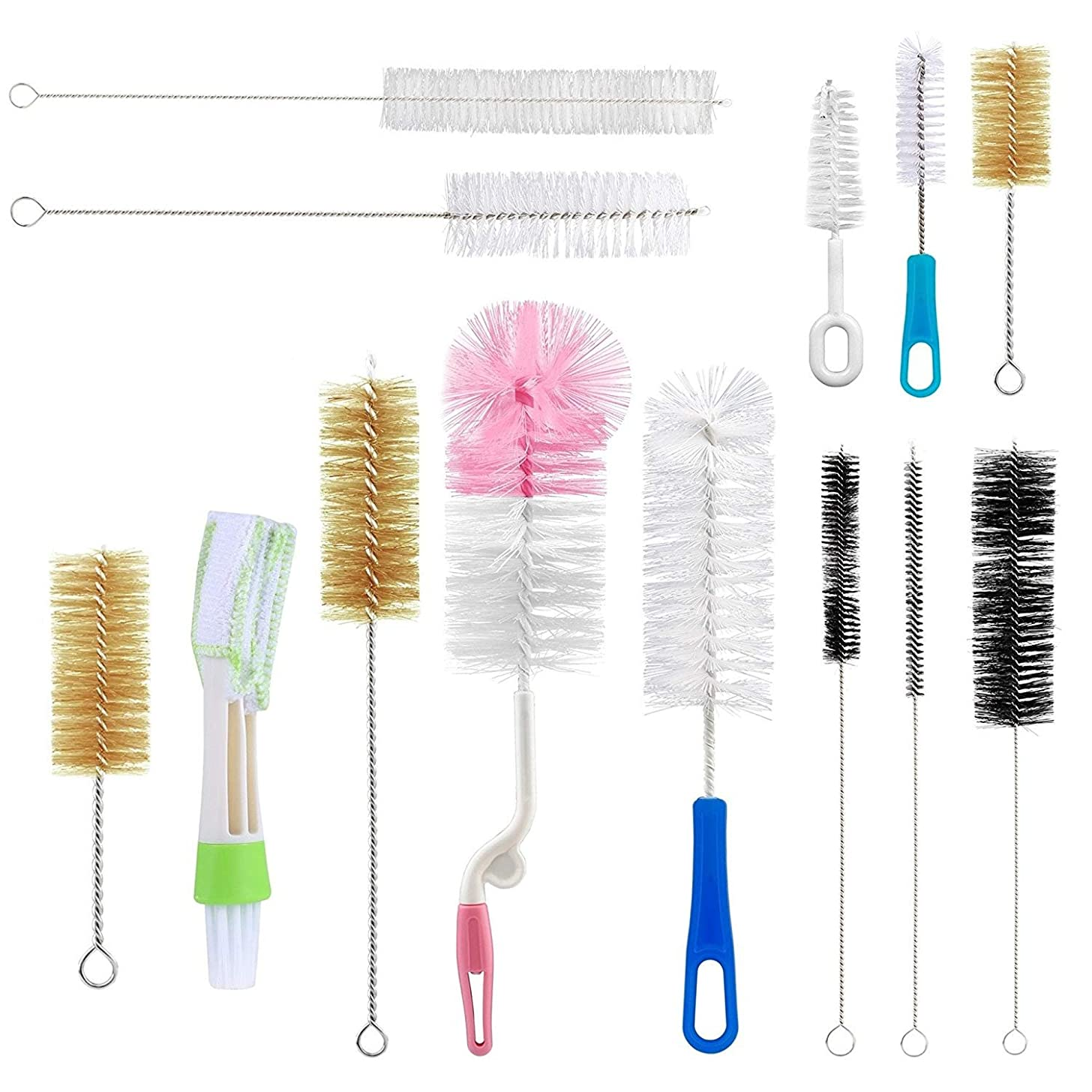 Yoassi 13Pcs Food Grade Multipurpose Cleaning Set Includes Straw, Nipple Brush,Blind Duster,Pipe Cleaner,Small,Long,Soft,Stiff Kit for Baby Bottles,Tubes,Jars,Bird Feeder