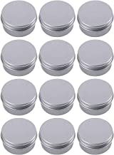 Hulless Aluminum Tin Jars 0.5oz Refillable Containers 15ml, Cosmetic Small tins, Aluminum Screw Lid Round Tin Container Bottle for Candle, Lip Balm, Salve, Eye Shadow, Powder, Small Ounce 12 Pack.